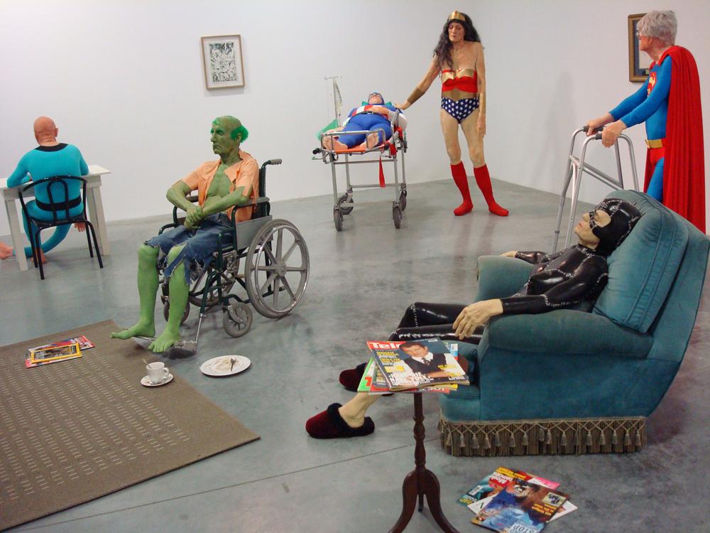 les super heros a la retraite de l'artiste gilles barbier