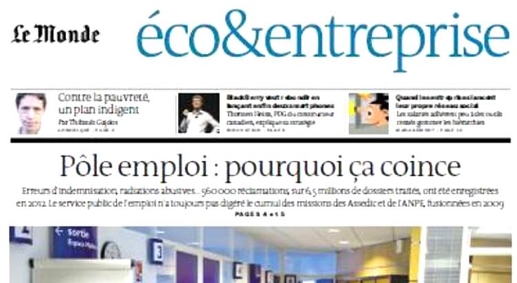 La une du journal le monde eco&entreprise