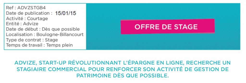 Offres de stage Bac +4 +5 finance gestion de patrimoine courtier en assurance vie Advize