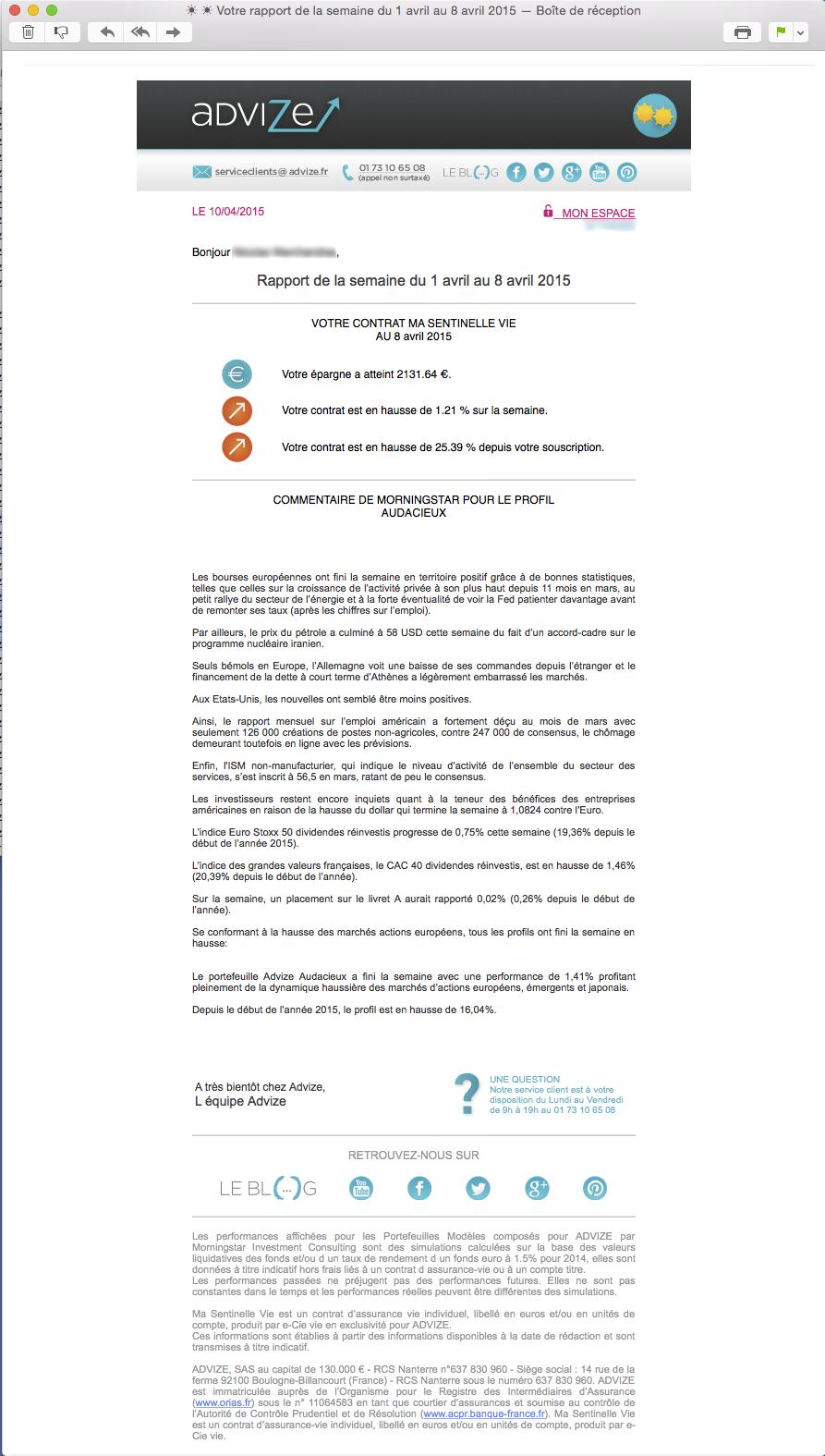 courier e-mail de l'épargne Advize qui présente La Météo de l'épargne pour l'épargnant du contrat d'assurance-vie en ligne ma sentinelle vie 2015